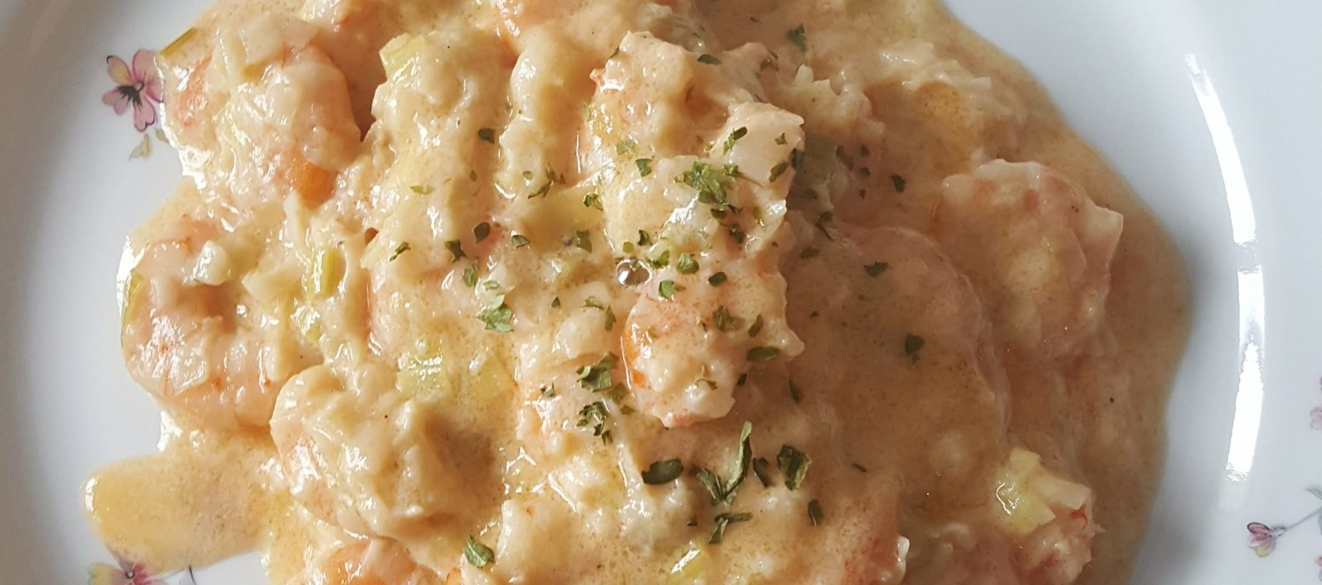 Crevettes sur fondue de poireaux au cookeo