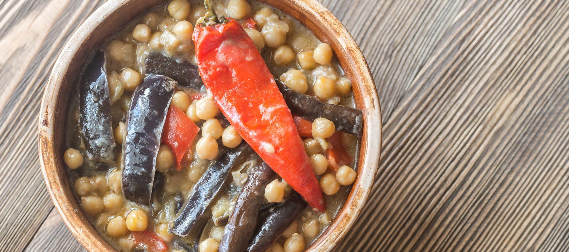 Curry d'aubergines et de pois chiches au cookeo