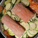 Saumon, carottes courgettes et riz de Thierry