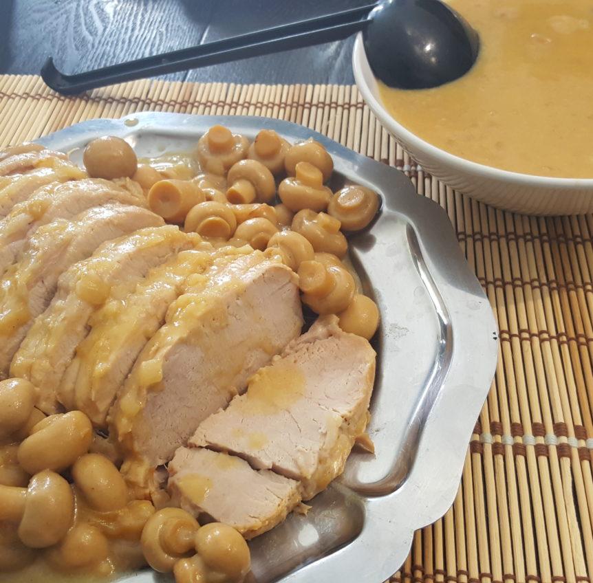 Recette cookeo Rôti de Porc et ses champignons sauce au ...