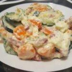 Courgettes, carottes et lardon au Kiri