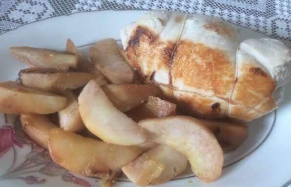 Rôti de dinde au roquefort et poires