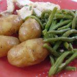 Poulet pommes de terre grenaille haricots verts