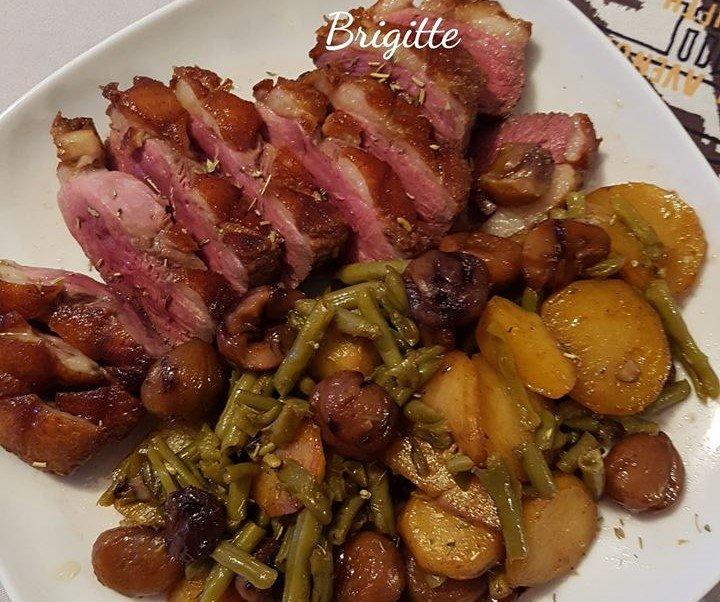 Magret de canard pommes de terre, haricots verts, châtaignes au cookeo La cuisine de Bibi
