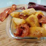 Pommes de terre sautées, poulet chorizo