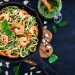 Spaghetti aux crevettes sauce pesto