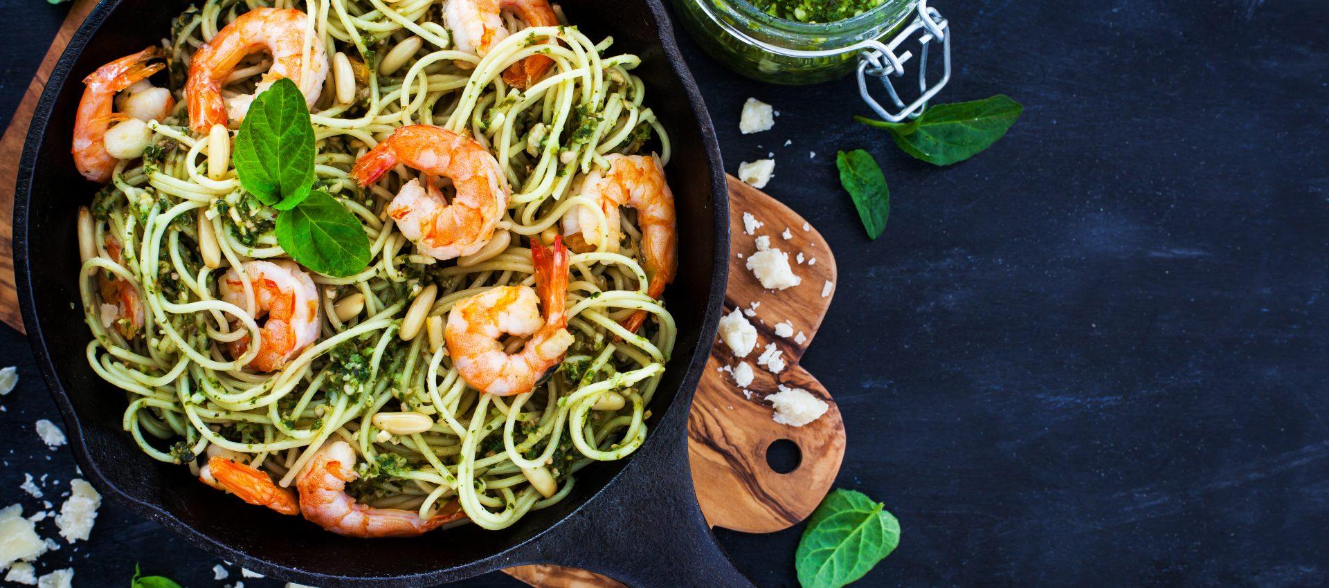 Spaghetti aux crevettes sauce pesto au cookeo