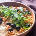 Risotto tomate, olive, Mozzarella