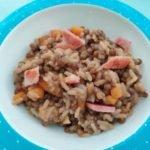 Lentilles, riz, jambon à griller au cookéo