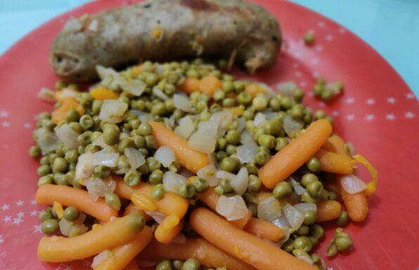 Andouillette de canard et petits pois carottes express au cookeo