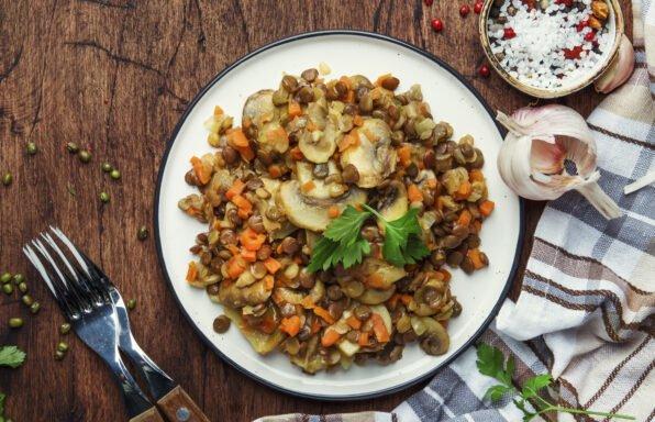 Lentilles aux champignons et carottes au cookeo
