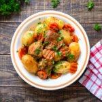 Filet mignon de porc, pommes de terre et carottes au vin blanc au cookeo